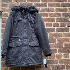 NWT Jones New York black faux fur parka jacket